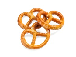 Three small salted pretzels, close up