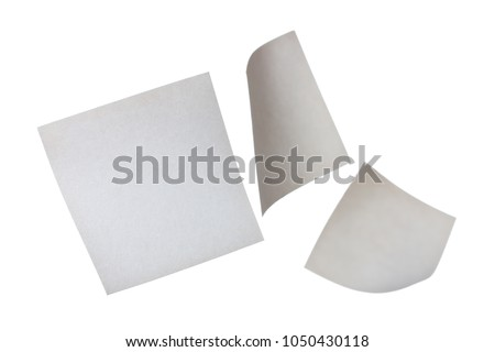 Three small square white papers floating in space #1050430118