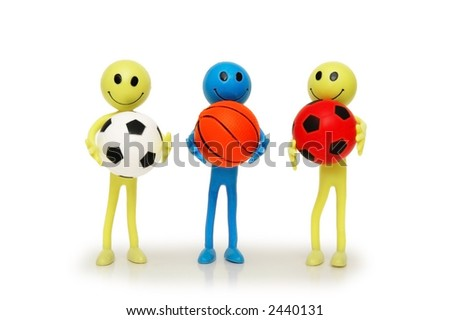 Three smilies with footballs and basketballs isolated on white