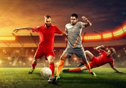 Three soccer players fight for a ball. Tough competition.  Slide tackle. Soccer stadium (3D render)
