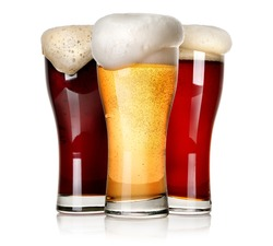 Three sorts of beer isolated on a white background