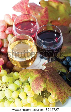 three sorts of wine in glasses - red, rose and white and grapes