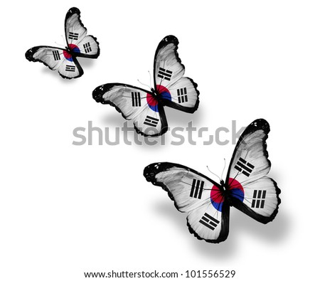 Three South Korea flag butterflies, isolated on white