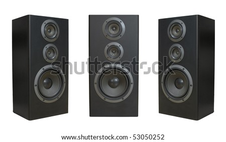 Three speaker side and front view isolated on white background - stock photo