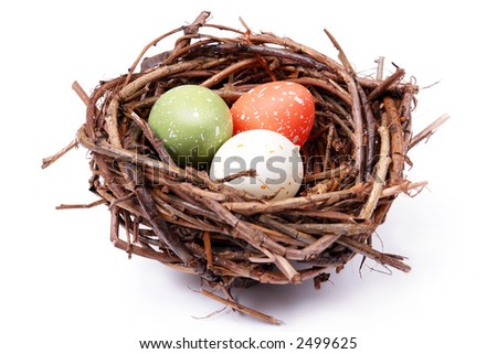 Three speckled eggs in bird's nest over white background
