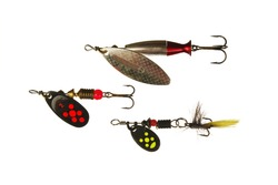 Three spinner lures isolated on white
