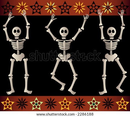 Three spooky skeletons jump and dance around - bordered by black and orange elements - great for Halloween or Dia de los Muertos