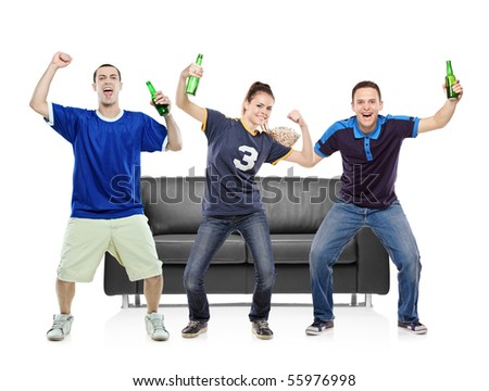Three sport fans celebrating the victory