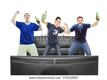 Three sport fans watching TV against white background