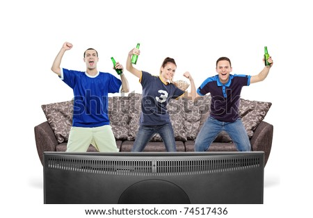 Three sport fans watching TV isolated against white background
