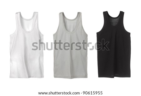 Three sport tank tops. White, grey and black.