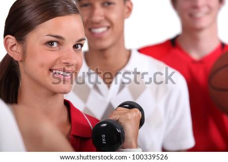 Three sporty people