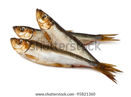 three sprats against white background