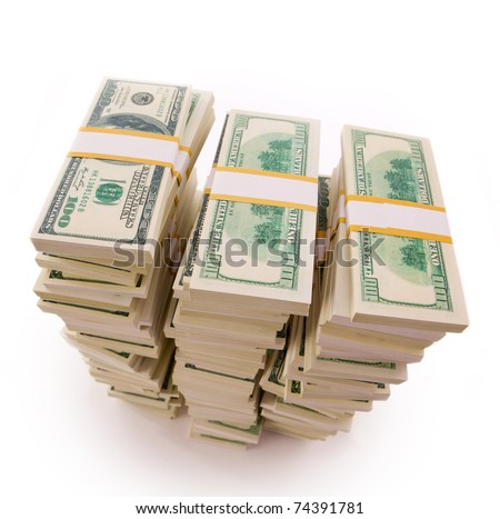 three Stack of Dollar Bills