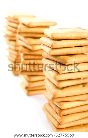 three stacks of cookies closeup on white backgrounds