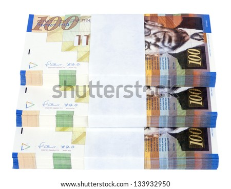 Three stacks of 100 NIS (New Israeli Shekel) money notes on top of eachother, spread like a staircase, isolated on white background.