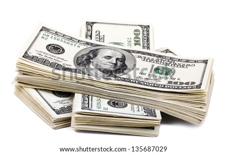 Three stacks of 100 US$ money notes on top of each other, isolated on white background. - stock photo