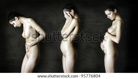 three stages of pregnancy. Portrait of naked pregnant women.