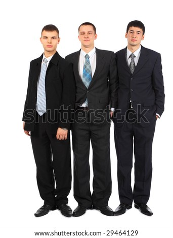 Three standing young businessmen