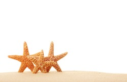 Three Starfish in Sand Isolated on White
