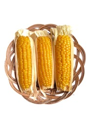 Three steamed corns or maize (zea mays) on woven plate isolated on white background. Cooked corns ready to eat for breakfast or snack. Corn or maize is a staple food in many parts of the world