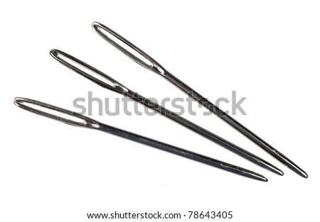 Three steel sewing needles, isolated