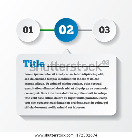 Three steps loading. Design for infographics. Paper with title and content.  illustration.