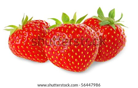 Three strawberries isolated on white