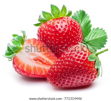 Three strawberries with strawberry leaf on white background.