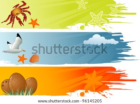 Three summer banner with coconut, dolphin, crab, starfish, seagull, raster version