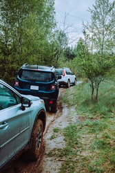 three suv cars at mud off road trail in forest