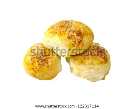 Three sweet buns isolated on white background