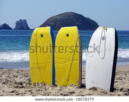 Three swimming boards for rent on Playa del Palmas beach in Ixtapa resort town, Mexico.