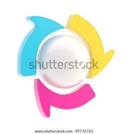 Three symbolic arrow spin around copyspace sphere isolated - stock photo
