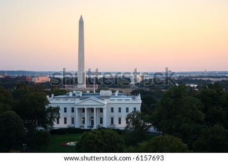 Three symbols of Washington, DC - the White House, the Washington Monument and the Jefferson Memorial