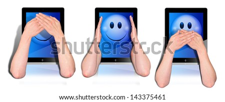 three tablets with woman's hands covering you the mouth, the hearings and the eyes
