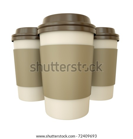 Three takeaway coffee cups. 3D render