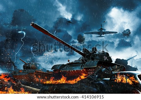 Three tanks under fire from enemy aircraft