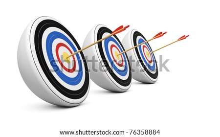 Three targets hit with Bull's-Eye shot on white background