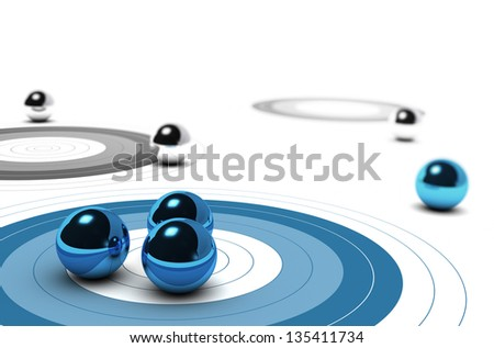 Three targets, one blue and other are grey, three balls over the first one concept of target market over white background