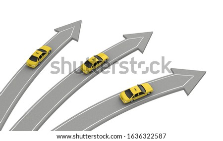 three taxi car go in different directions isolated on white above view. 3d rendering