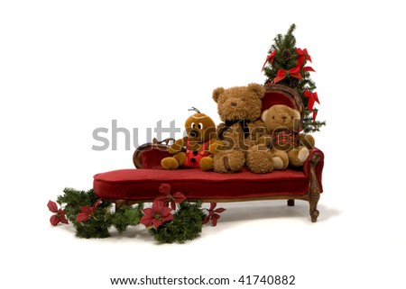 Three Teddies On Couch