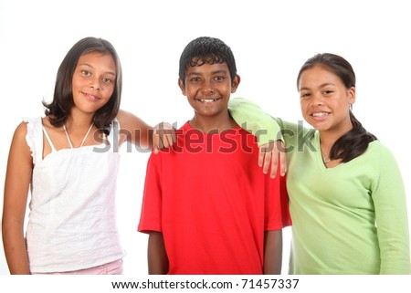 Three teenager friends in studio boy and two girls