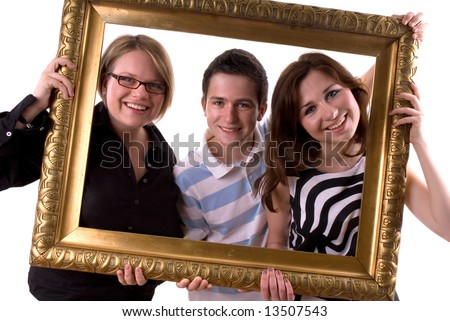 Three teenagers in a antique painting frame