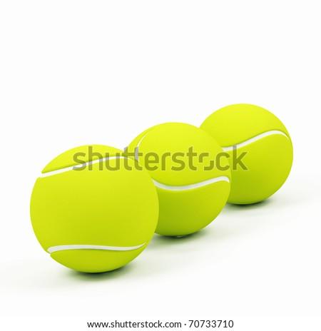 Three tennis balls - stock photo