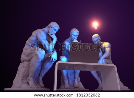 Three thinkers with a computer and one of them has a glowing light bulb above his head as a symbol of a new idea. 3D Illustration.  ストックフォト ©