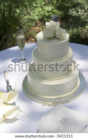stock photo three tiered round wedding cake