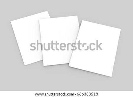 three tilt blank tilt 3d rendering closed white brochures for design use, isolated gray background top view