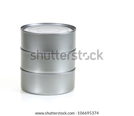 Three tin cans stacked up with no label on white