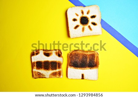 Three toasts lie on a colorful background - these are not toasted on the whole surface but show the contours of trunks and bikini and those of a sun - concept of sunburn presented with toasts #1293984856